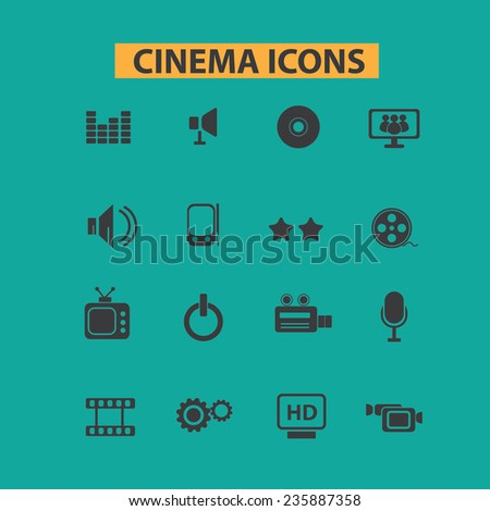 cinema, movie icons, signs set, vector