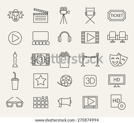 Cinema, movie line icons set, vector illustration - stock vector
