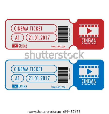 Cinema Movie Ticket Template Simple Design Vector 699457678 – Movie Theater Ticket Template