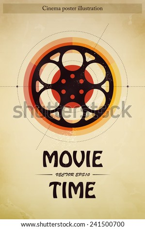 Cinema movie time entertainment industry poster with filmstrip vector illustration - stock vector