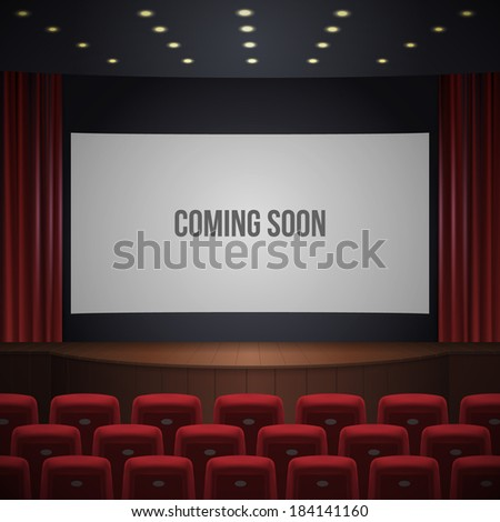 cinema or theater hall, wood podium, red chairs, red curtain, wide screen with sign coming soon. realistic vector illustration. - stock vector