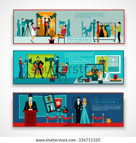 Cinema people horizontal banner set with film production elements isolated vector illustration - stock vector
