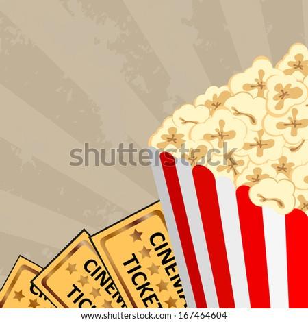 Cinema - popcorn and tickets, vector illustration  - stock vector