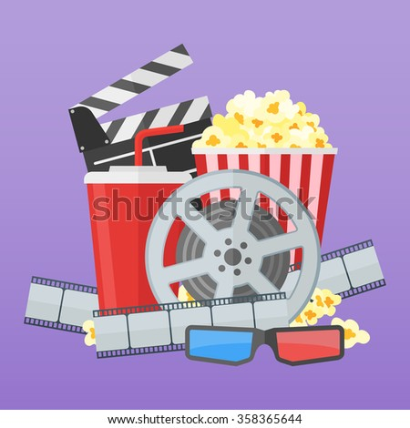 Cinema poster design template. Movie film reel and strip, popcorn, clapper board, soda takeaway, 3d glasses on purple background. Flat style vector illustration. - stock vector