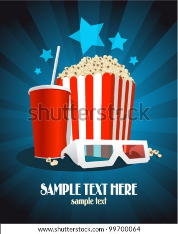 Cinema poster with popcorn box, cola and 3D glasses. - stock vector