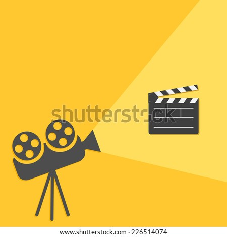 Cinema projector with light Open movie clapper board template icon. Flat design style. Vector illustration - stock vector