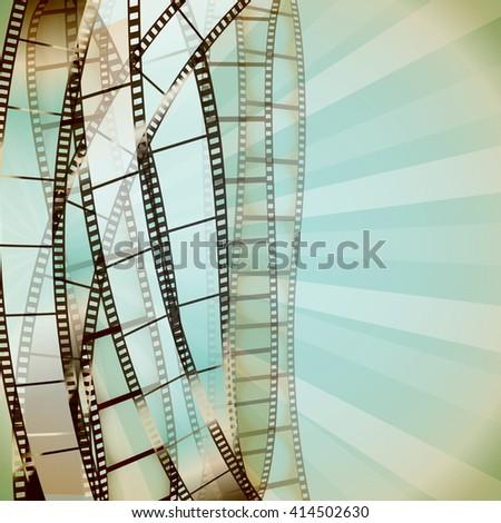 cinema retro background with film strips. vector - stock vector