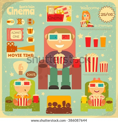 Cinema Retro Poster. Movie Collection  in Flat Cartoon Style. People Watch Movies. Vector Illustration. - stock vector