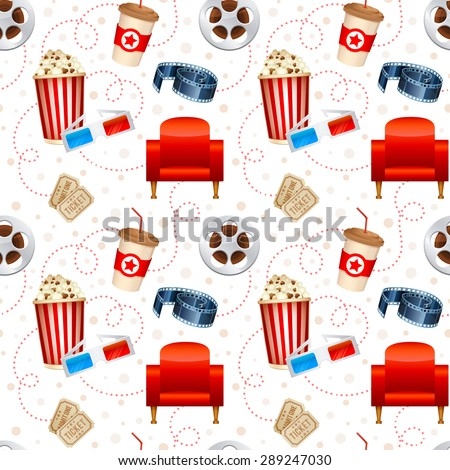 Cinema seamless texture with a pattern of detailed movie objects - film reel, popcorn, 3D glasses, seats - stock vector