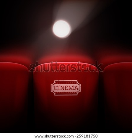 Cinema seats, projector light, eps 10 - stock vector