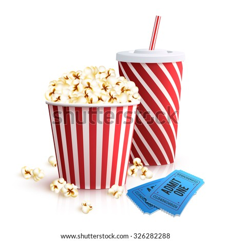 Cinema set with cola glass popcorn bucket and tickets realistic vector illustration - stock vector