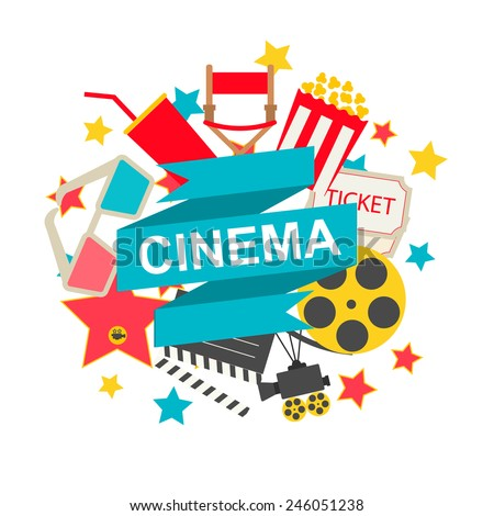 Cinema sign with cinema icons set in flat design style, vector illustration - stock vector