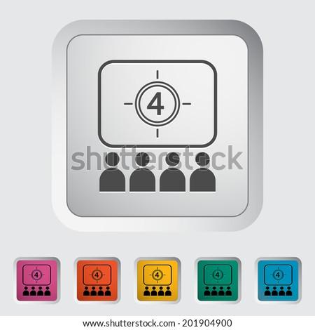 Cinema. Single flat icon on the button. Vector illustration. - stock vector