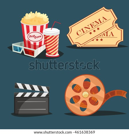 Cinema Symbols 4 Retro Style Icons Stock Vector 461638369 ...