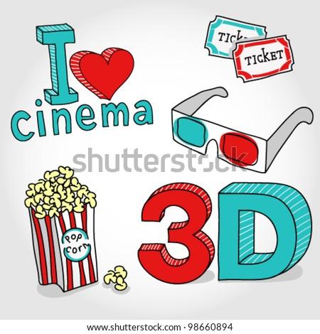 cinema symbols vector hand-drawn set - stock vector