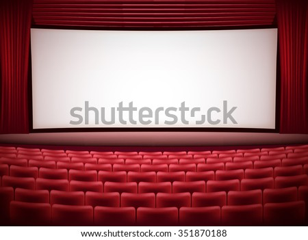 cinema theater horizontal background with red seats and red curtains