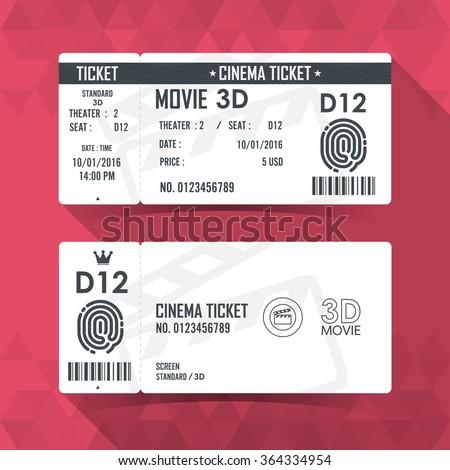 Cinema Ticket Card modern element design - stock vector
