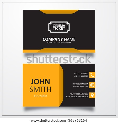 Cinema ticket sign icon. Business card vector template. - stock vector