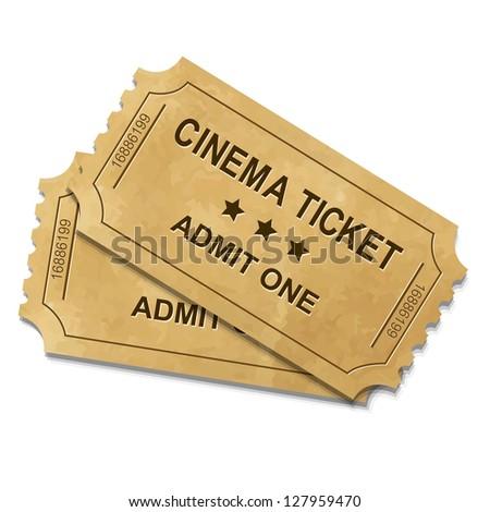 Cinema Ticket With Gradient Mesh, Vector Illustration - stock vector