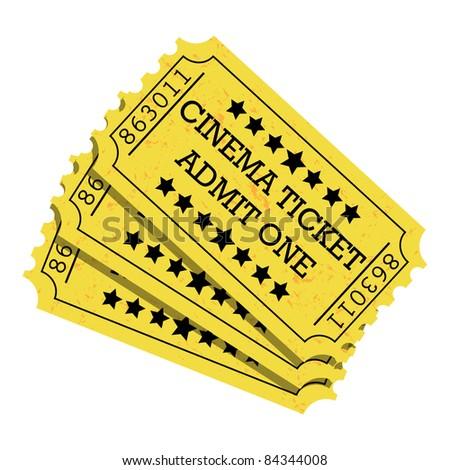 Cinema Ticket Yellow - vector. Easy to edit. - stock vector