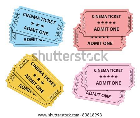 Cinema tickets collection. Vector illustration - stock vector