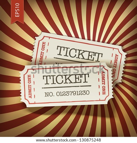 Cinema tickets on retro rays background, vector. - stock vector