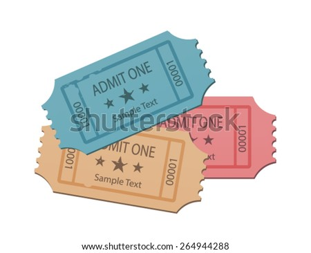 Cinema Tickets Set Soft Colors - stock vector