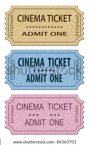 Cinema Tickets Set. Vector illustration - stock vector