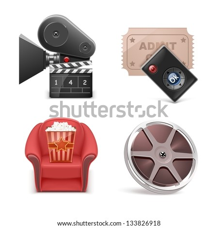 cinema vector icon set - stock vector