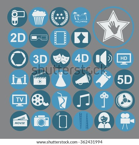 Cinema vector icons set.