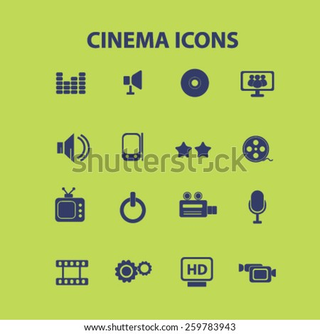 cinema, video, movie icons, signs, illustrations concept design set, vector
