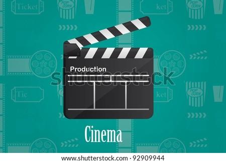 cinema wood board over aquamarine background. vector illustration - stock vector