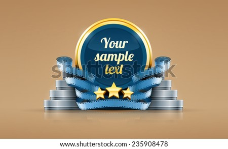 Cinematography logo with stars and cinema film tapes. Eps10 vector illustration. - stock vector