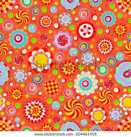 Circle abstract beautiful flower seamless pattern. Handmade with watercolor and canvas. Grunge texture. Vector.