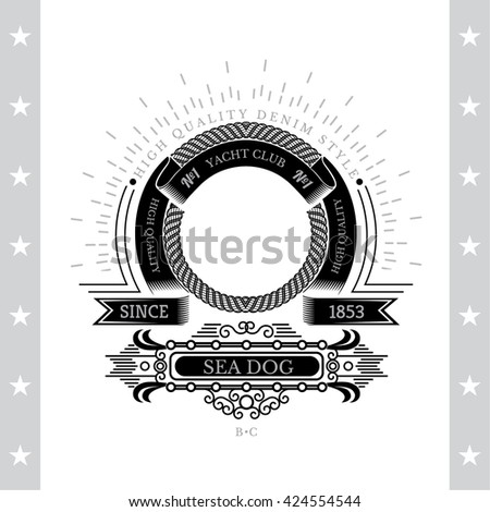 Circle Abstract Frame From Cord And Winding Ribbons. Marine Label With Coat of Arms Isolated On White - stock vector