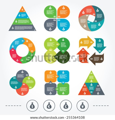 Circle and triangle diagram charts. Money bag icons. Dollar, Euro, Pound and Yen symbols. USD, EUR, GBP and JPY currency signs. Background with 4 options steps. Vector - stock vector