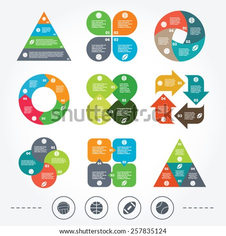 Circle and triangle diagram charts. Sport balls icons. Volleyball, Basketball, Baseball and American football signs. Team sport games. Background with 4 options steps. Vector - stock vector