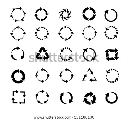 circle arrows icon, pictogram refresh reload rotation loop, signs of recycling. vector set  - stock vector