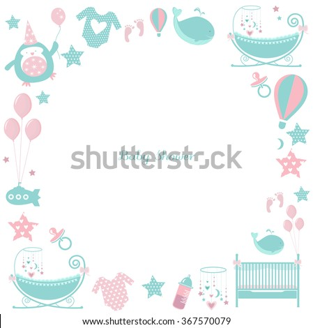 circle baby frame cute greetings card stock vector royalty free