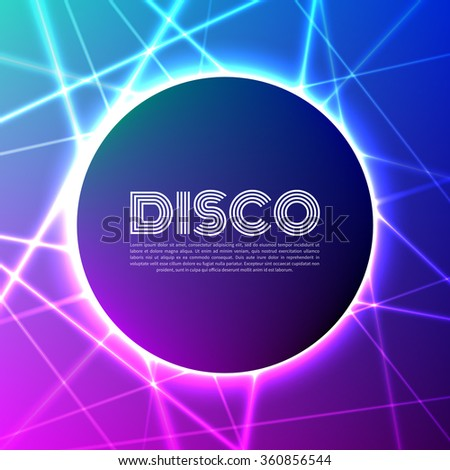 Circle banner on grid of colorful laser rays - stock vector