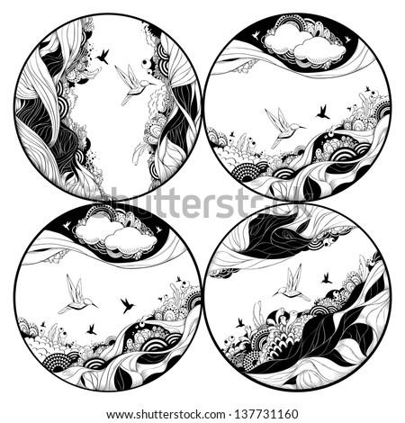 Circle bizarre illustrations set. Abstract doodle designs. Vector illustration. - stock vector