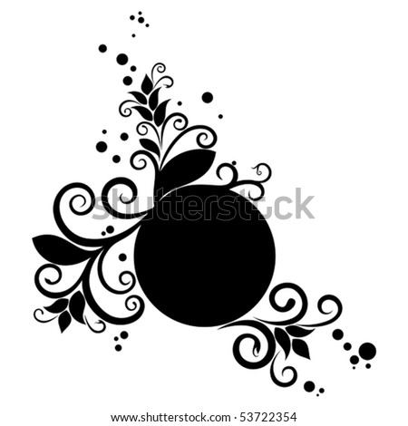 Circle black banner with floral ornament and stain - stock vector