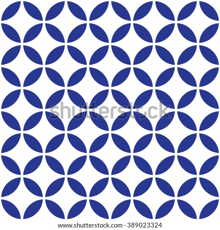 Circle Blue Seamless Pattern in Vector