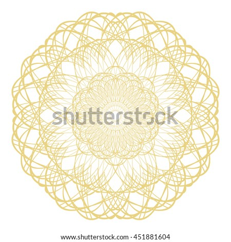 Circle border frame with delicate guilloche lace contour rosette isolated on white (transparent) background. Space for invitations, promotional poster or greeting cards text. Vector illustration eps