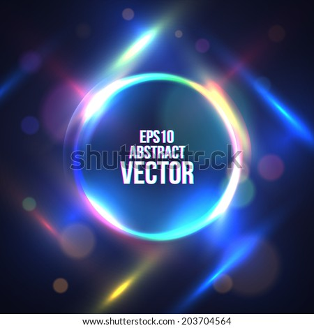Circle Border with Light Effects. Vector illustration for your artwork, party flyers, posters. - stock vector