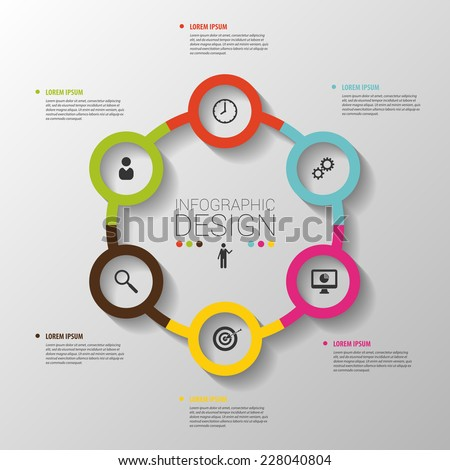 circle business concepts with icons template vector business concepts business life office