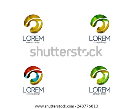 Circle business logo, target, location concept. Made of color flowing overlapping shapes - stock vector