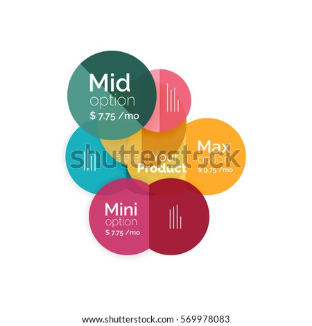Circle business option diagrams. Select your product with sample options. A4 size geometric template. Brochure - flyer, presentation or web design background