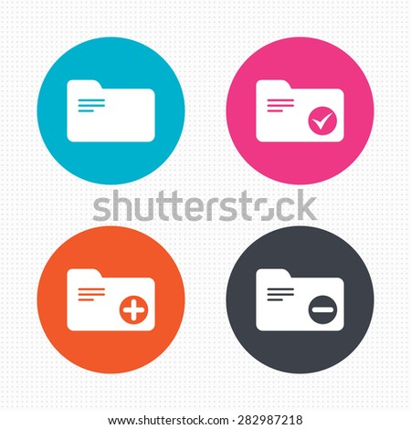 Circle buttons. Accounting binders icons. Add or remove document folder symbol. Bookkeeping management with checkbox. Seamless squares texture. Vector - stock vector