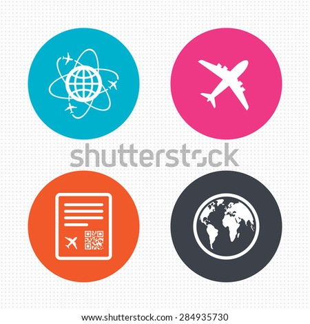 Circle buttons. Airplane icons. World globe symbol. Boarding pass flight sign. Airport ticket with QR code. Seamless squares texture. Vector - stock vector
